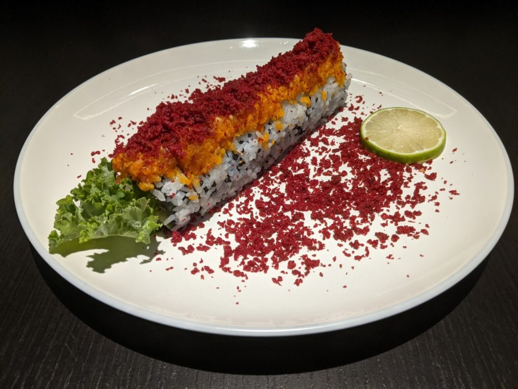Kleinburg Roll (10 Piece) - California Roll topped with Spicy Tuna & Crispy Tempura Bits made of Beets